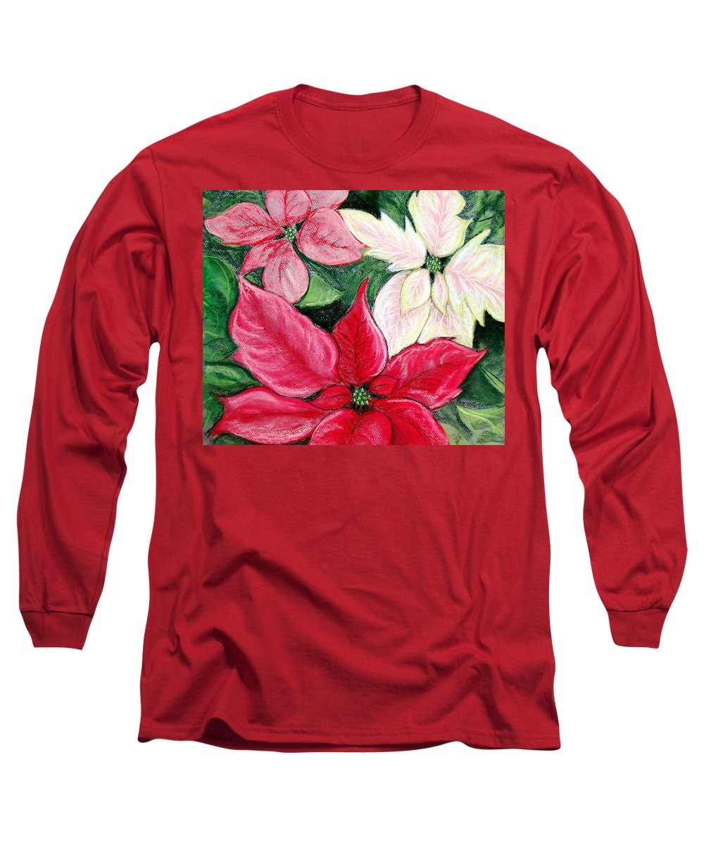 Poinsettia Long Sleeve T-Shirt featuring the pastel Poinsettia Pastel by Nancy Mueller