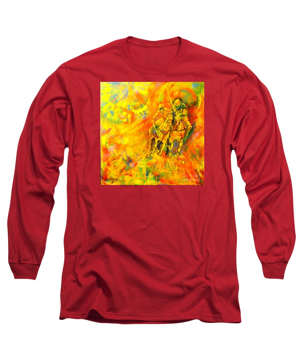 Horses Long Sleeve T-Shirt featuring the painting Poloplayer by Dagmar Helbig