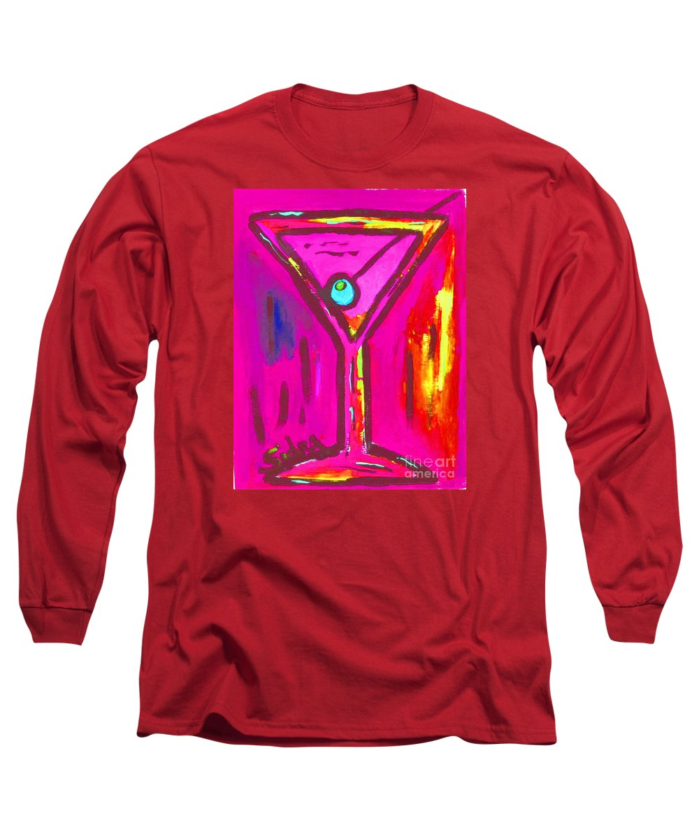 Martini Long Sleeve T-Shirt featuring the painting Pop Art Martini Pink Neon Series 1989 by Sidra Myers
