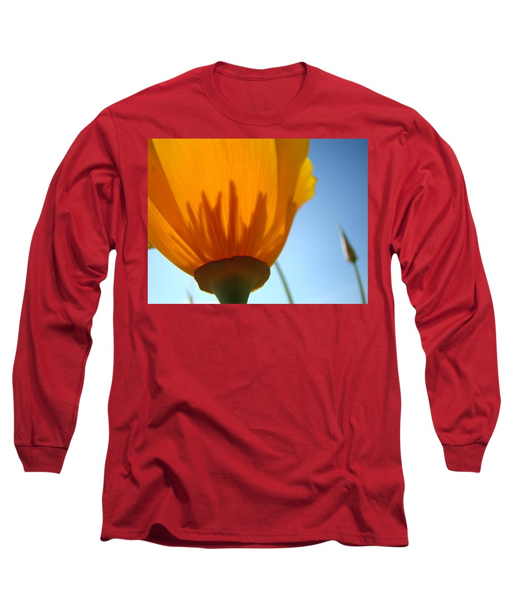 �poppies Artwork� Long Sleeve T-Shirt featuring the photograph Poppies Sunlit Poppy Flower 1 Wildflower Art Prints by Baslee Troutman