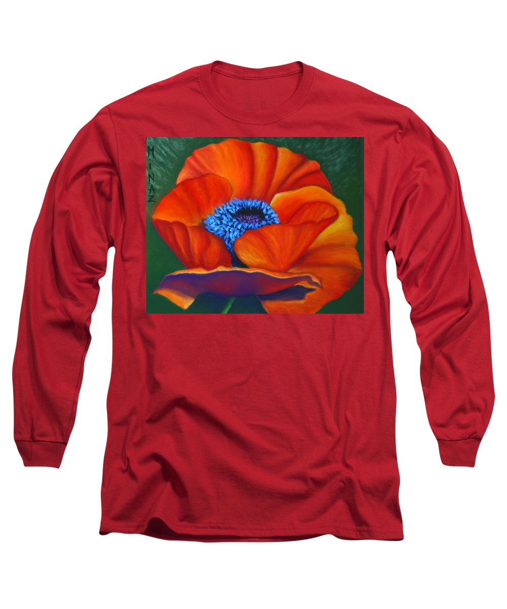Red Flower Long Sleeve T-Shirt featuring the painting Poppy Pleasure by Minaz Jantz
