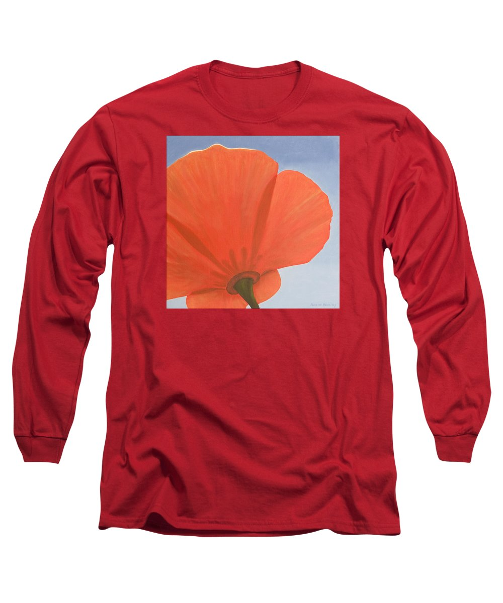 Flower Long Sleeve T-Shirt featuring the painting Poppy by Rob De Vries