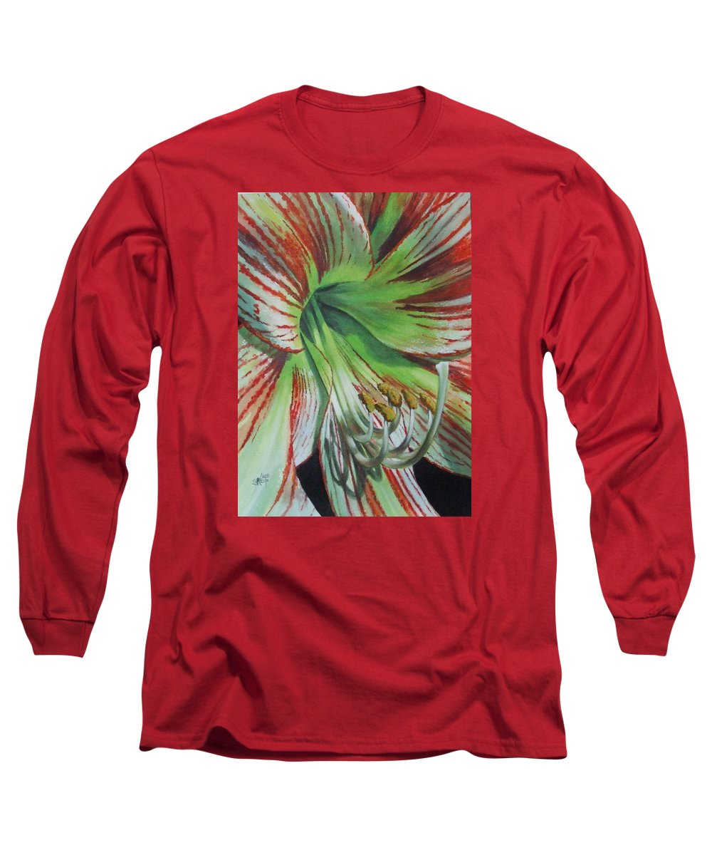 Amaryllis Long Sleeve T-Shirt featuring the painting Precious by Barbara Keith