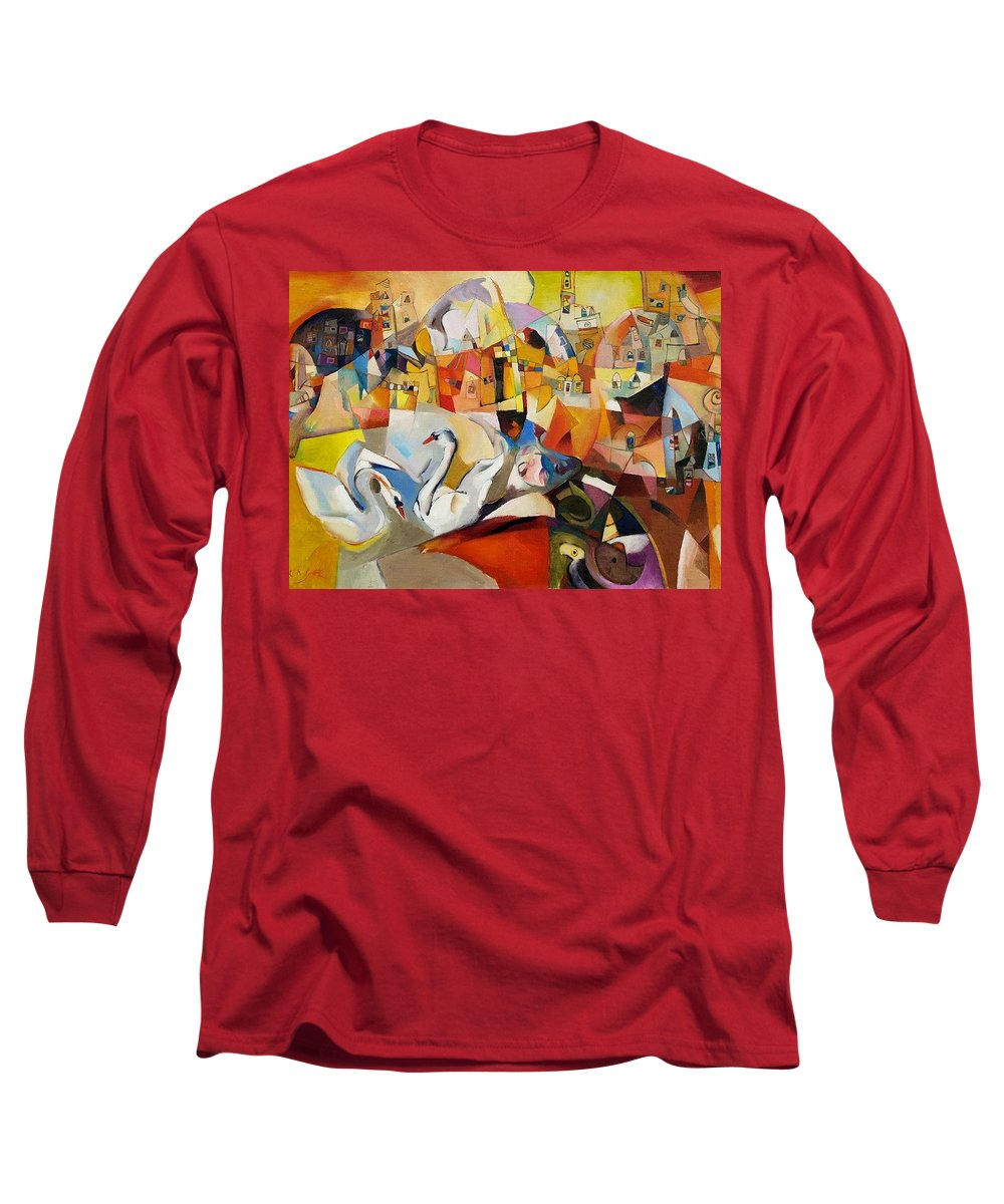 Landscape Long Sleeve T-Shirt featuring the painting Primavera by Miljenko Bengez
