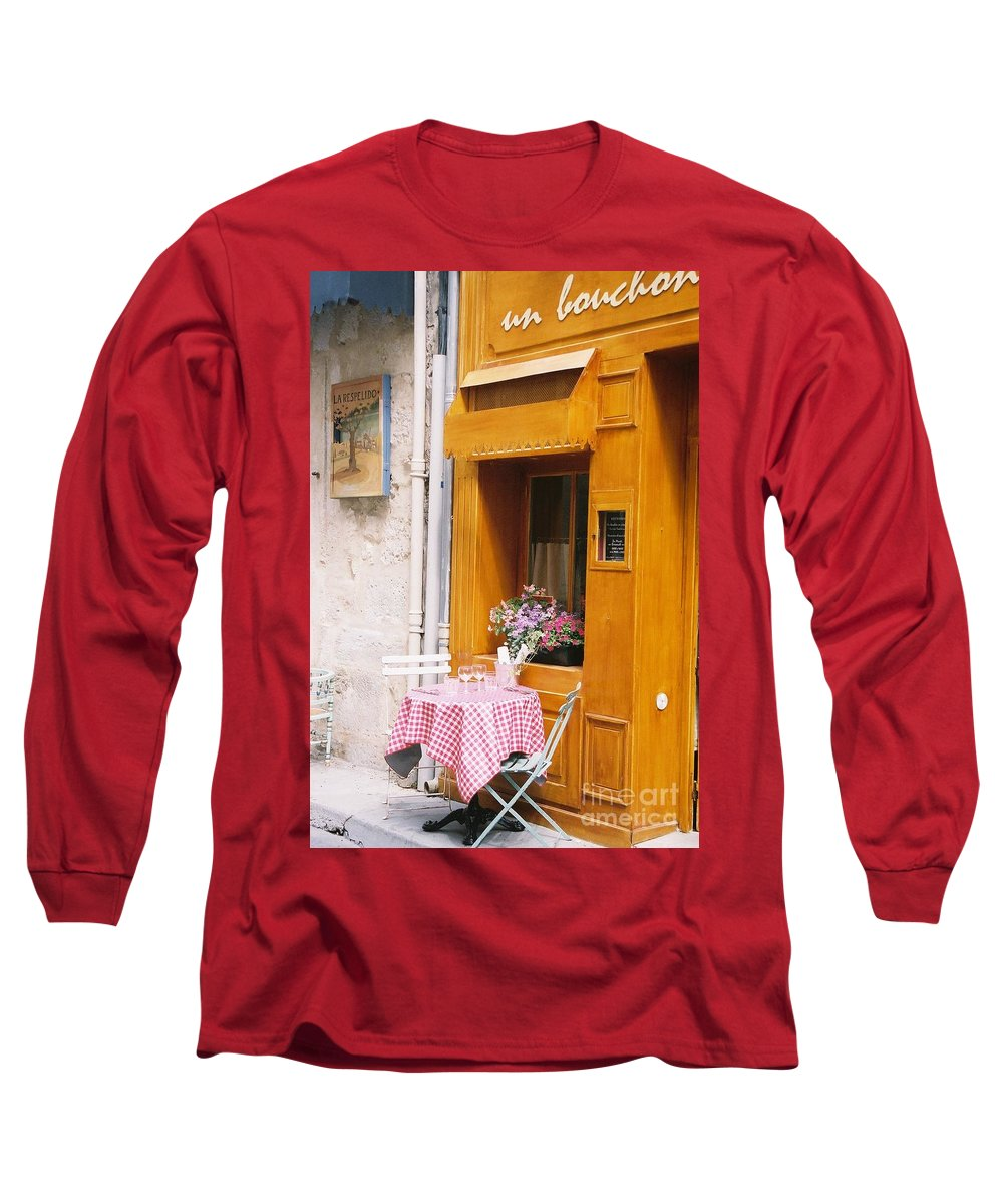 Cafe Long Sleeve T-Shirt featuring the photograph Provence Cafe by Nadine Rippelmeyer