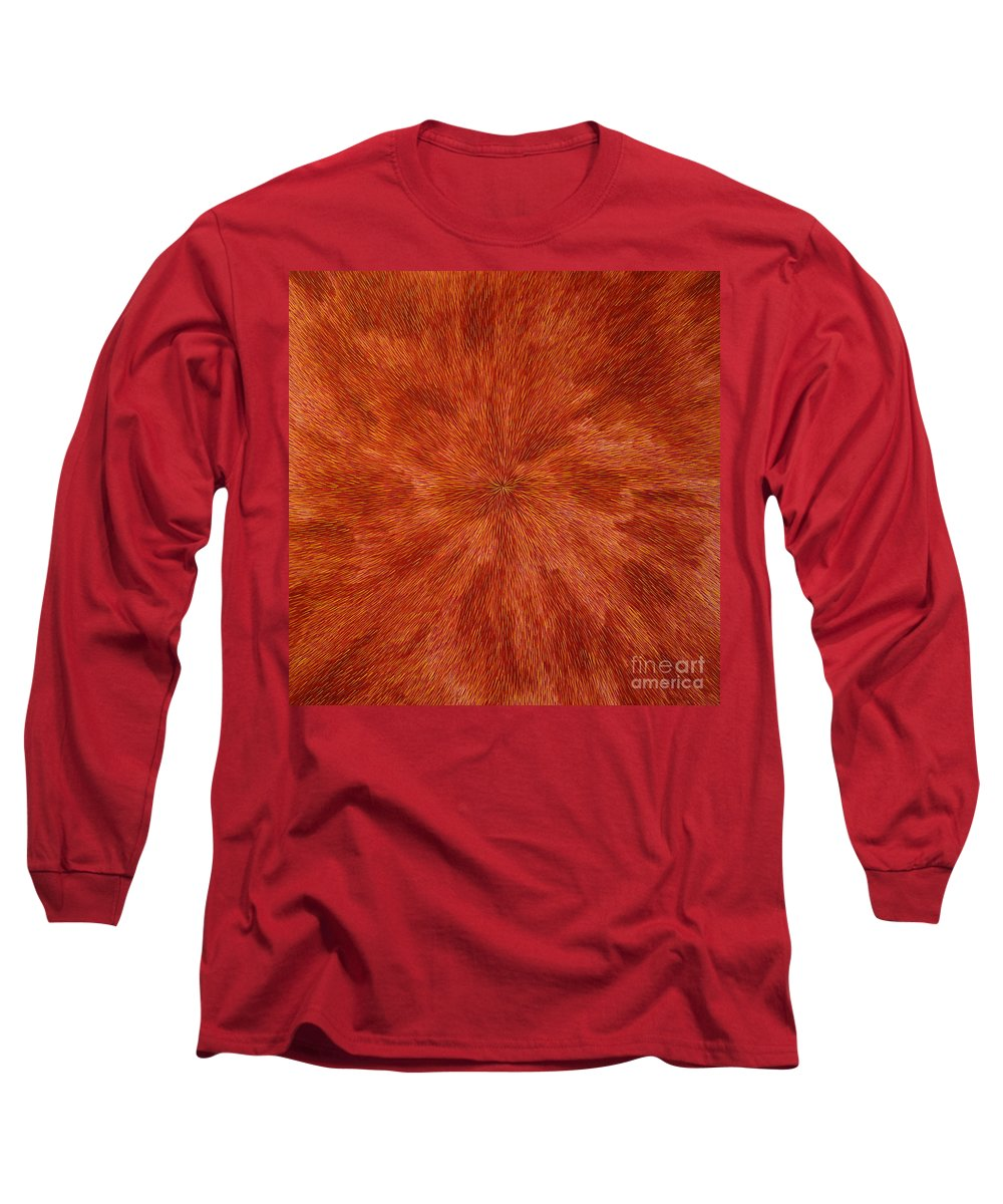 Abstract Long Sleeve T-Shirt featuring the painting Radiation With Brown Yellow And Voilet by Dean Triolo