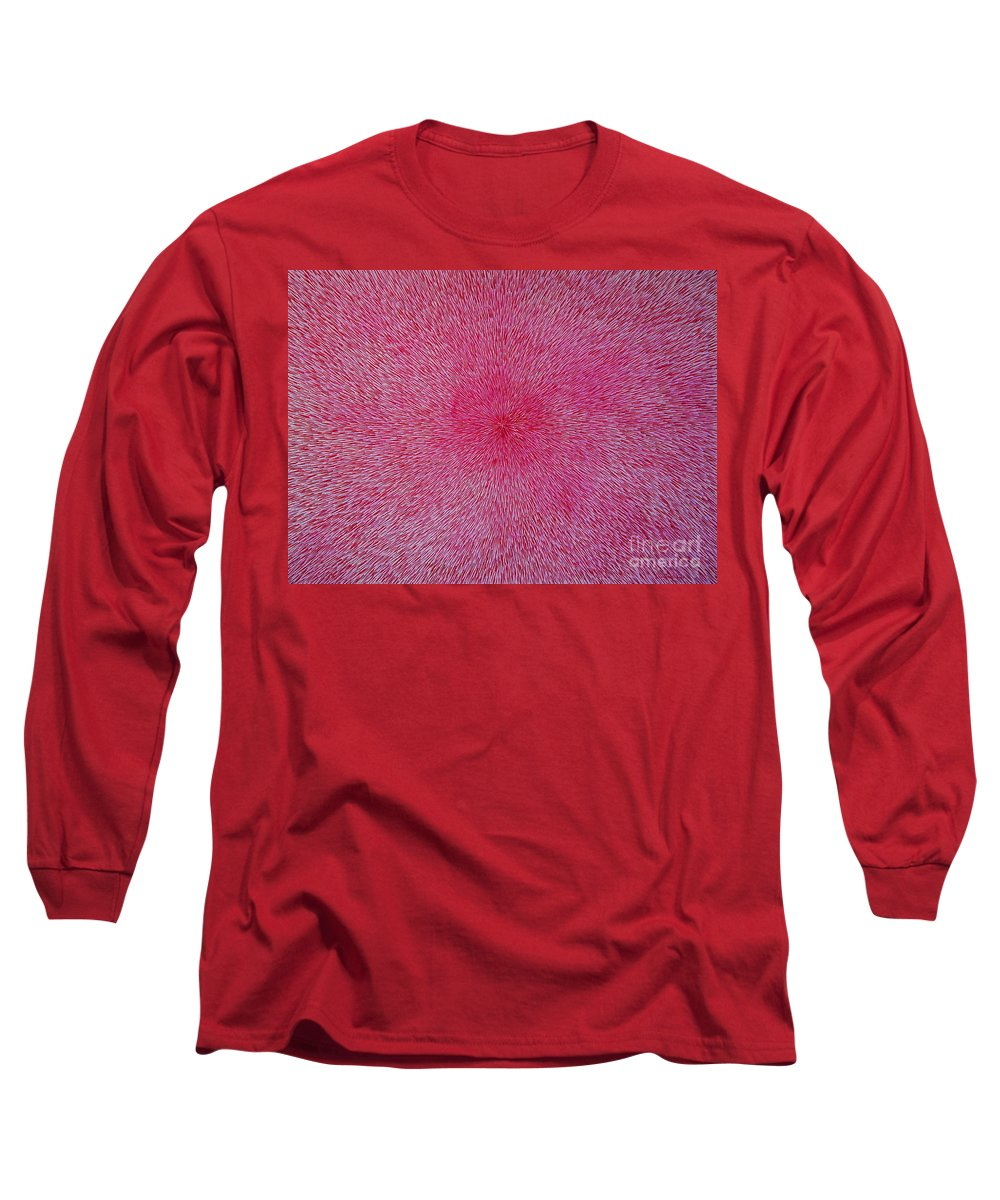 Abstract Long Sleeve T-Shirt featuring the painting Radiation With Pink And Magenta by Dean Triolo