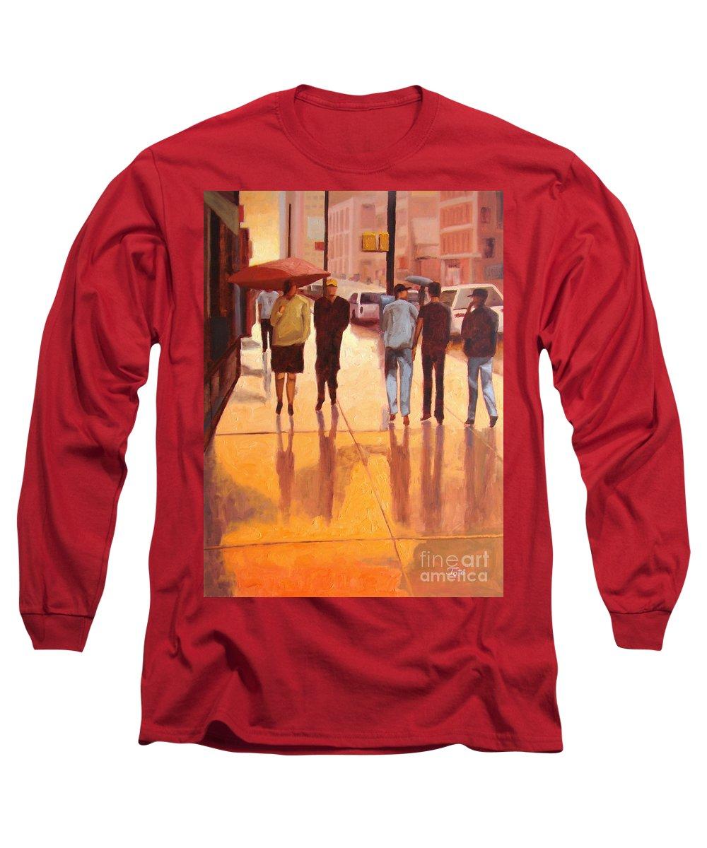 Manhattan Long Sleeve T-Shirt featuring the painting Rain In Manhattan Number Eighteen by Tate Hamilton