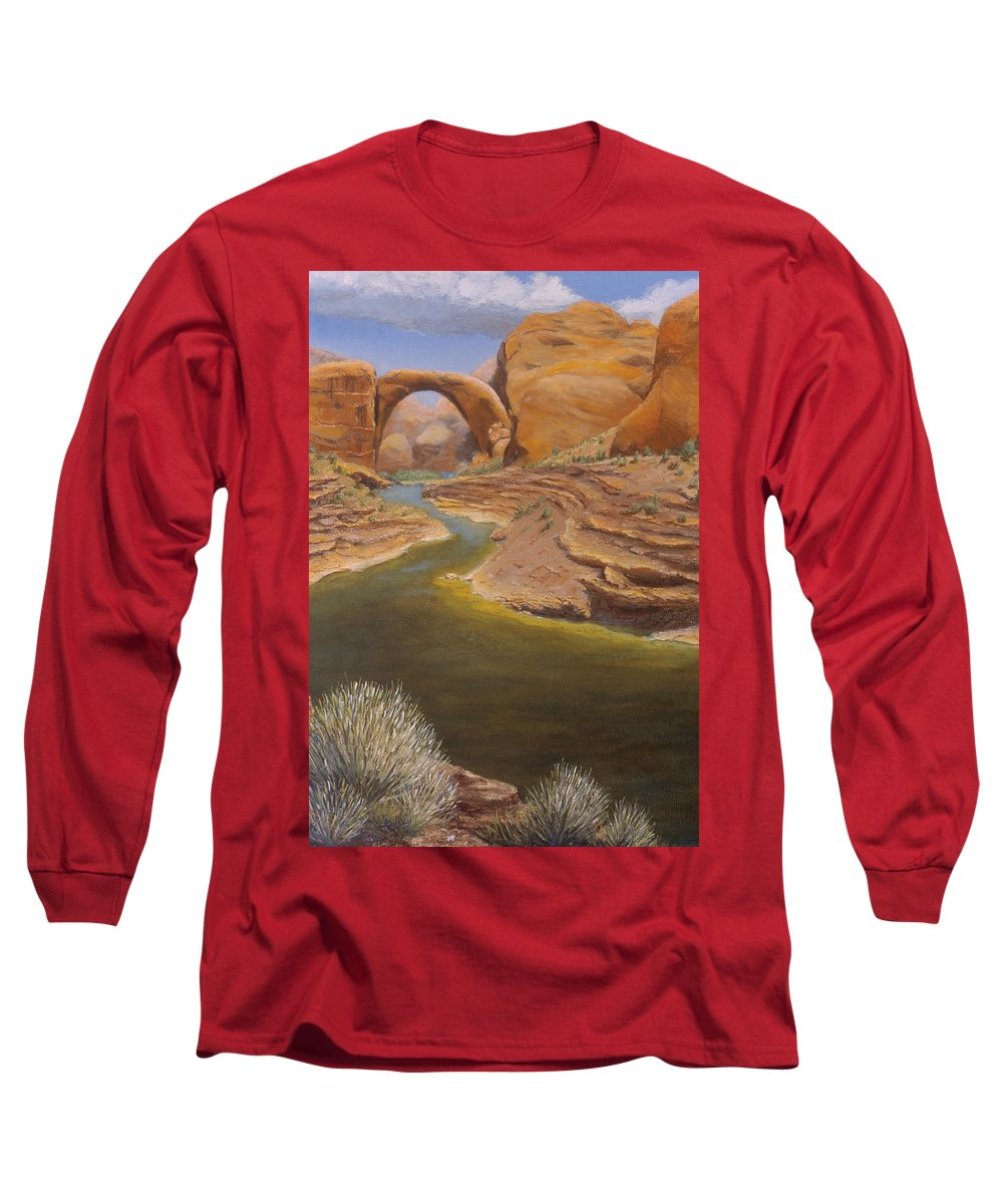 Rainbow Bridge Long Sleeve T-Shirt featuring the painting Rainbow Bridge by Jerry McElroy
