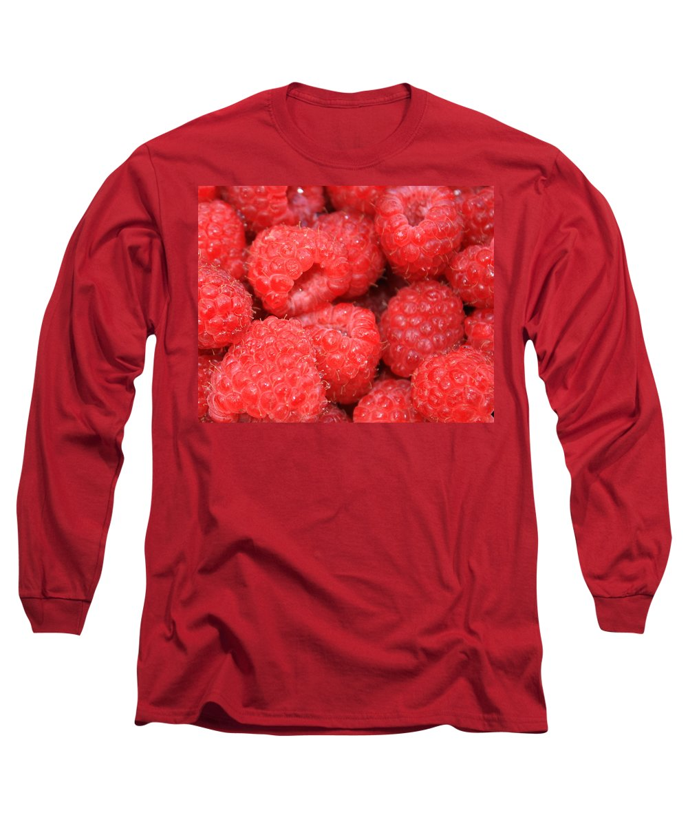 Food Long Sleeve T-Shirt featuring the photograph Raspberries Close-up by Carol Groenen