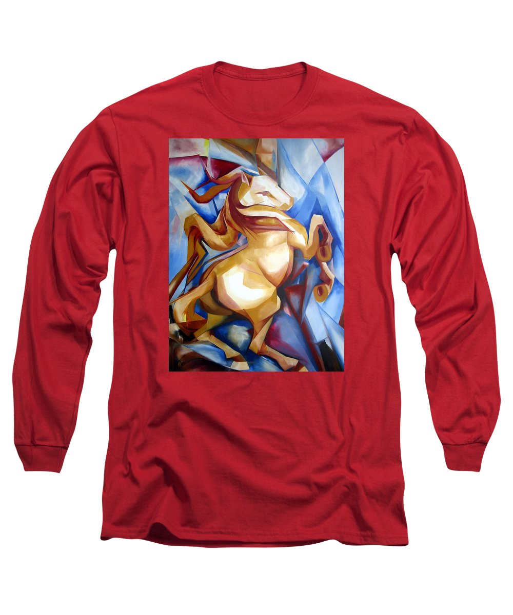Horse Long Sleeve T-Shirt featuring the painting Rearing Horse by Leyla Munteanu
