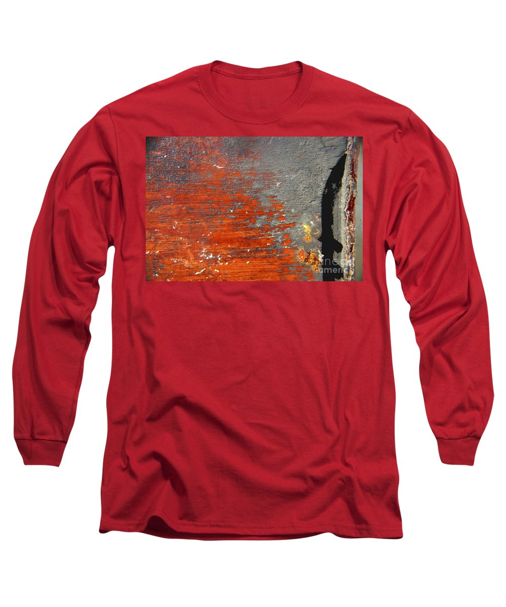 Red Long Sleeve T-Shirt featuring the photograph Red And Grey Abstract by Hana Shalom