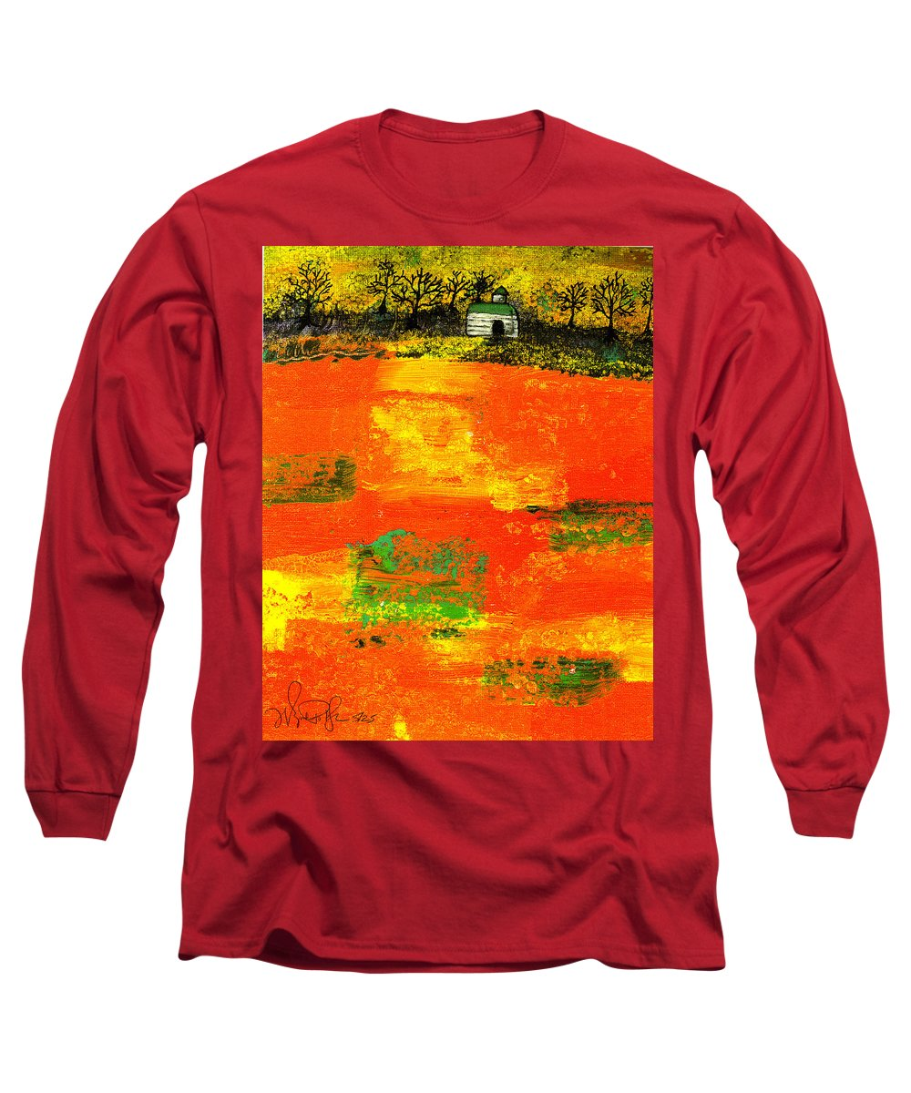 Rural Long Sleeve T-Shirt featuring the painting Red Fields by Wayne Potrafka