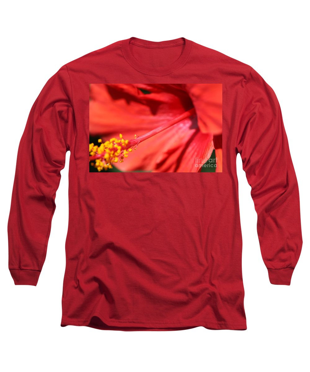 Red Long Sleeve T-Shirt featuring the photograph Red Hibiscus by Nadine Rippelmeyer
