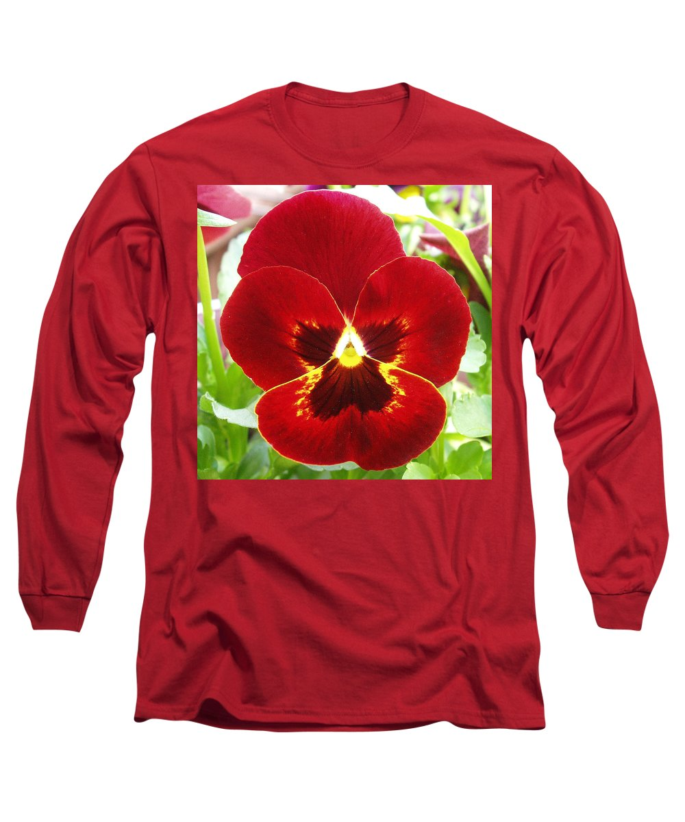 Red Long Sleeve T-Shirt featuring the photograph Red Pansy by Nancy Mueller