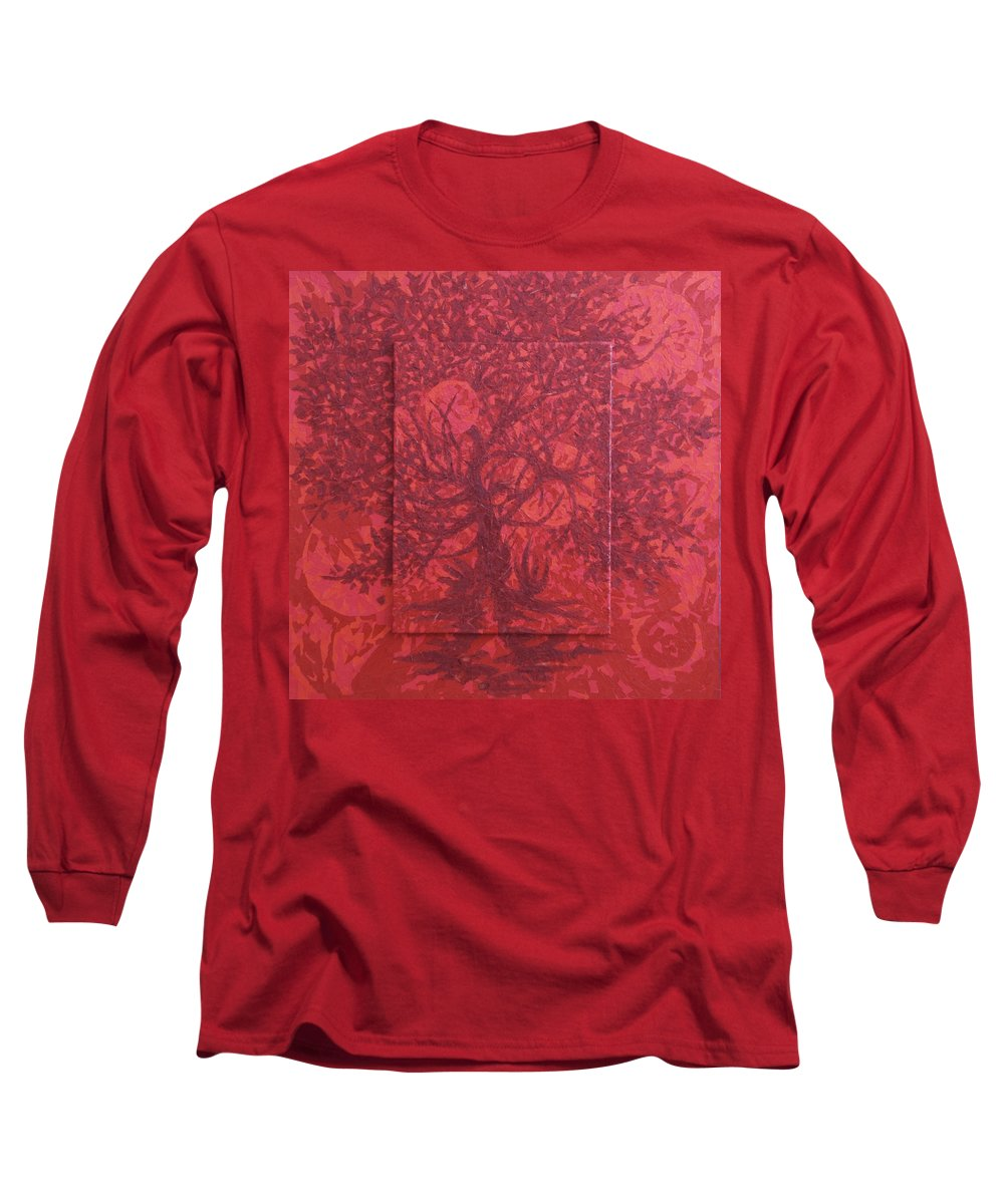 Red Long Sleeve T-Shirt featuring the painting Red Planet by Judy Henninger
