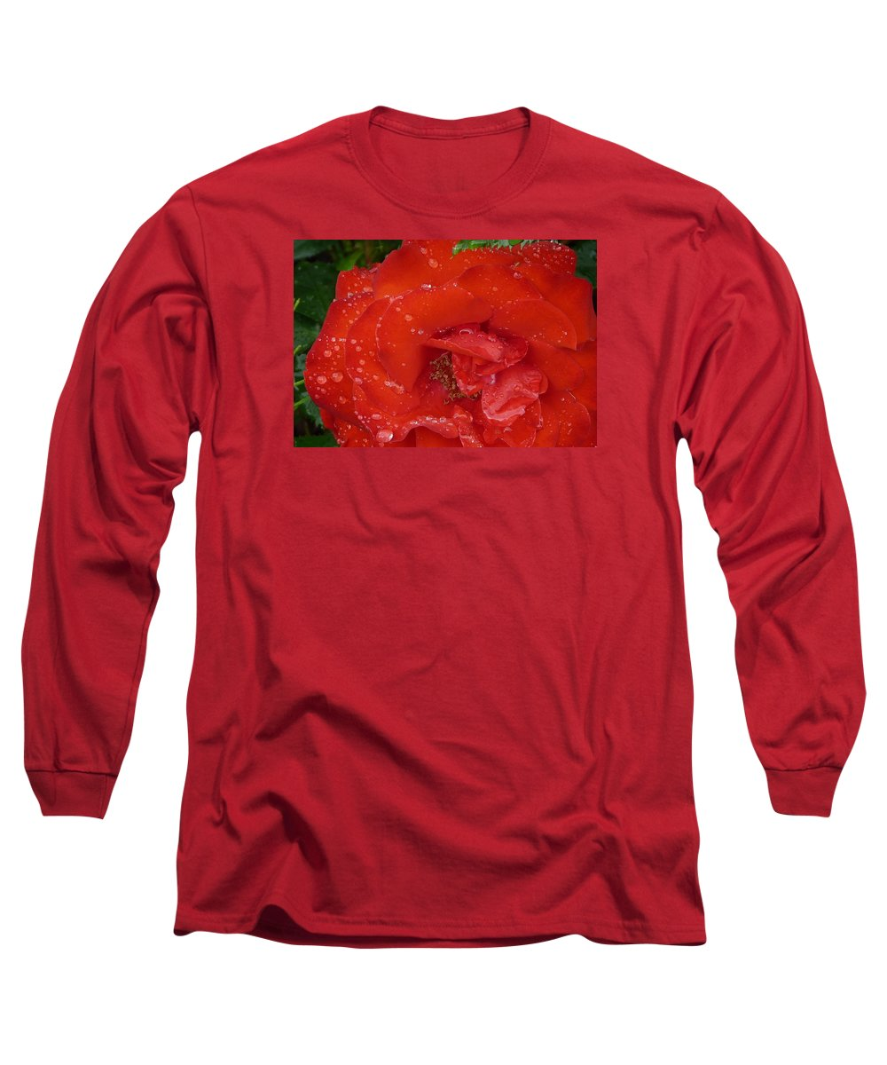 Rose Long Sleeve T-Shirt featuring the photograph Red Rose After Rain by Valerie Ornstein