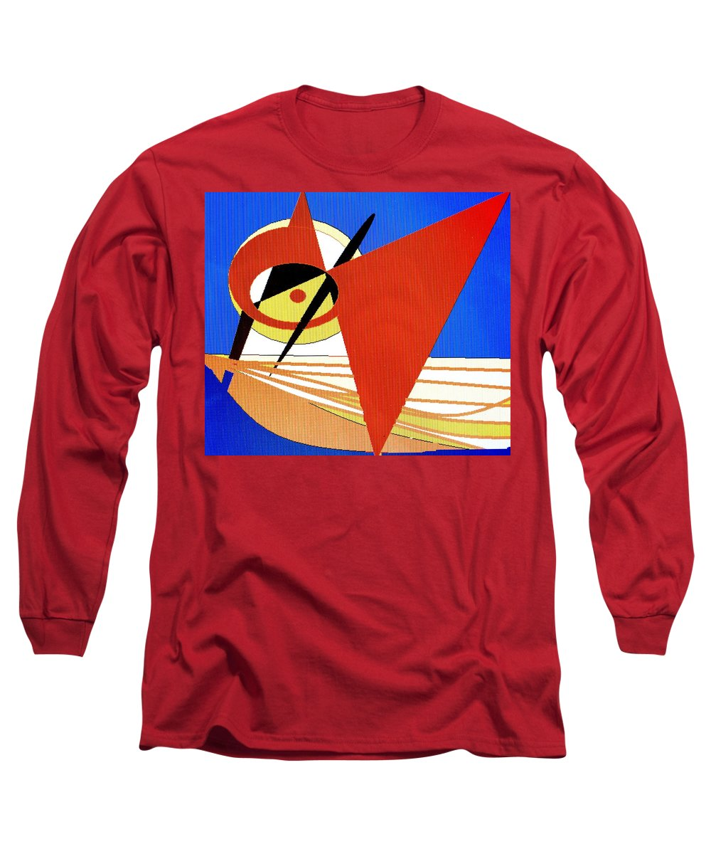 Boat Long Sleeve T-Shirt featuring the digital art Red Sails In The Sunset by Ian MacDonald