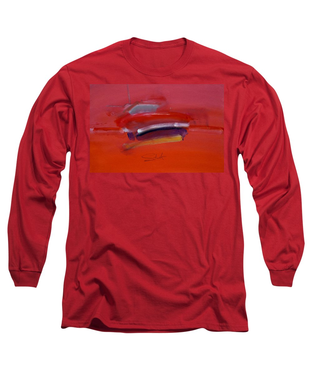 Fishing Boats Long Sleeve T-Shirt featuring the painting Red Trawler by Charles Stuart