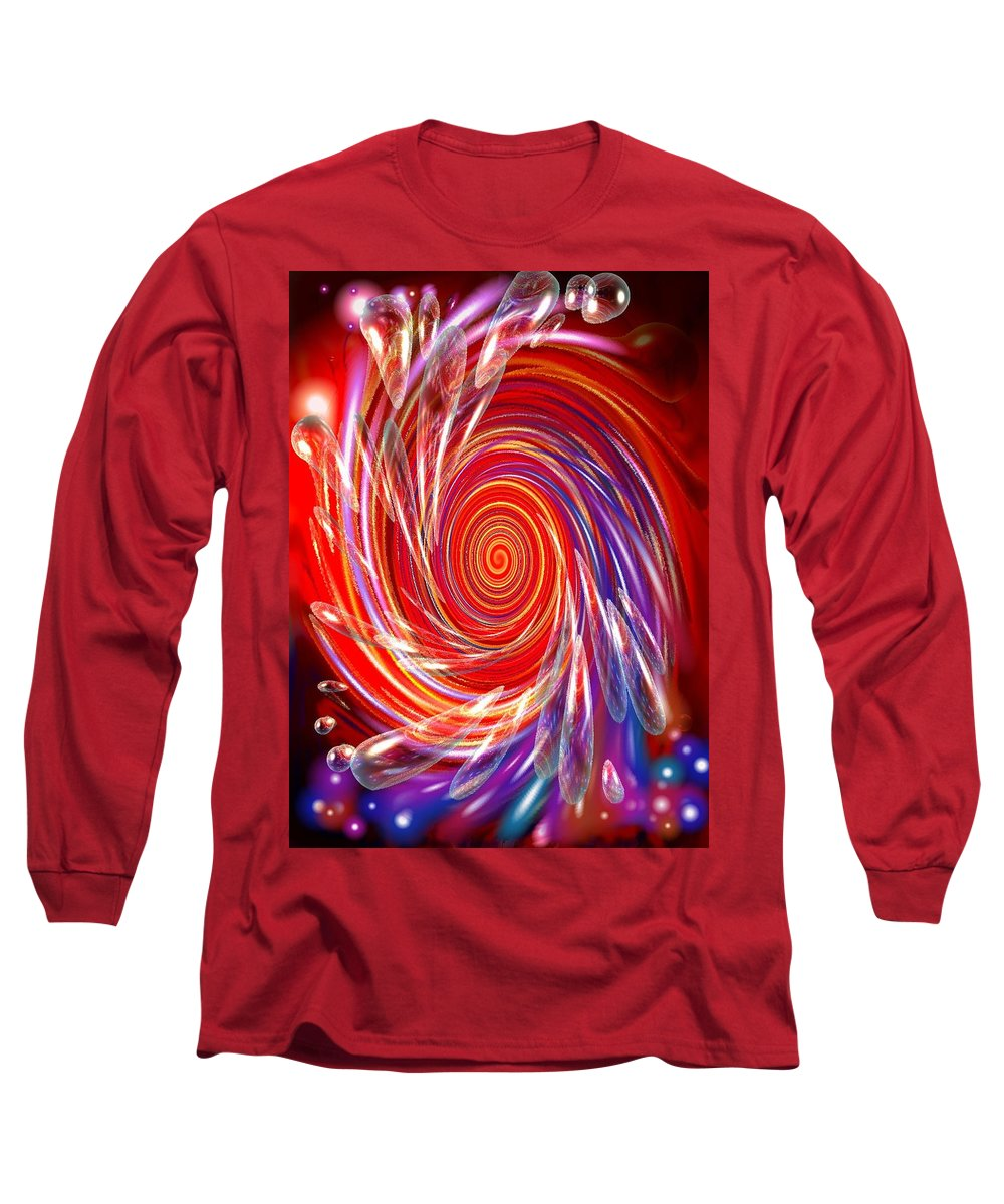 Red Long Sleeve T-Shirt featuring the digital art Red Twirl by Natalie Holland