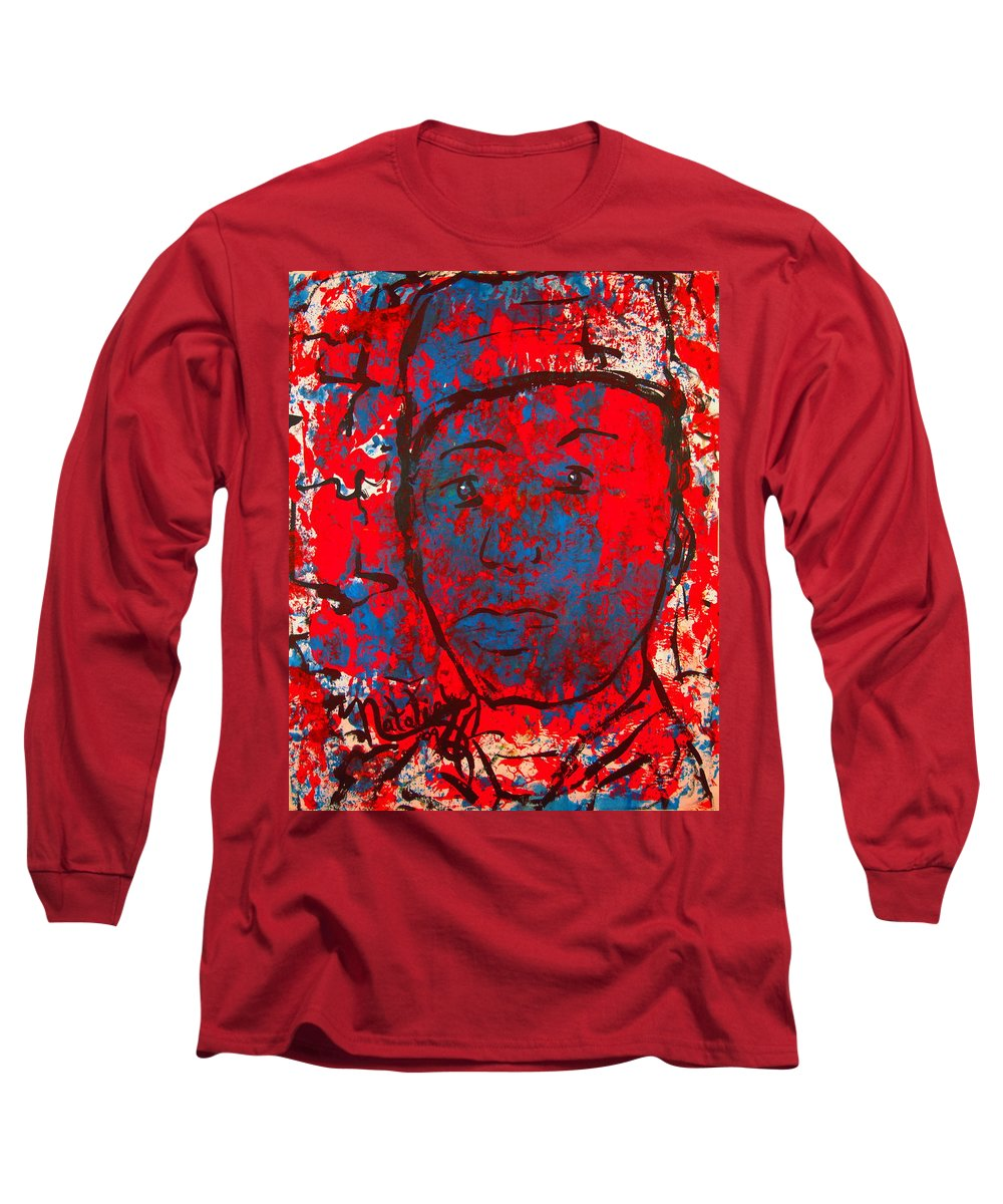 Man Long Sleeve T-Shirt featuring the painting Red White And Blue by Natalie Holland