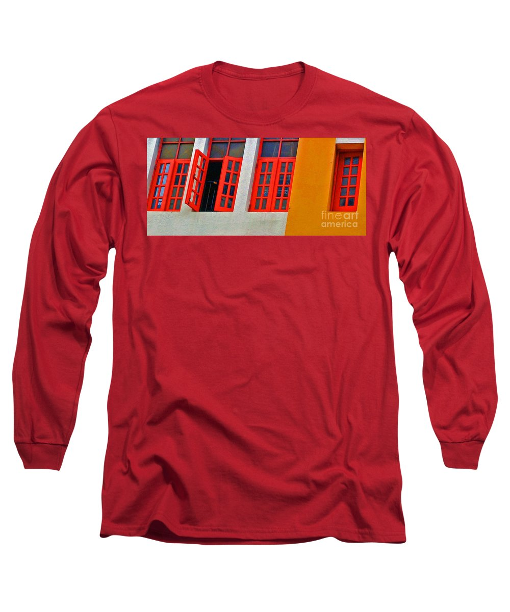 Windows Long Sleeve T-Shirt featuring the photograph Red Windows by Debbi Granruth
