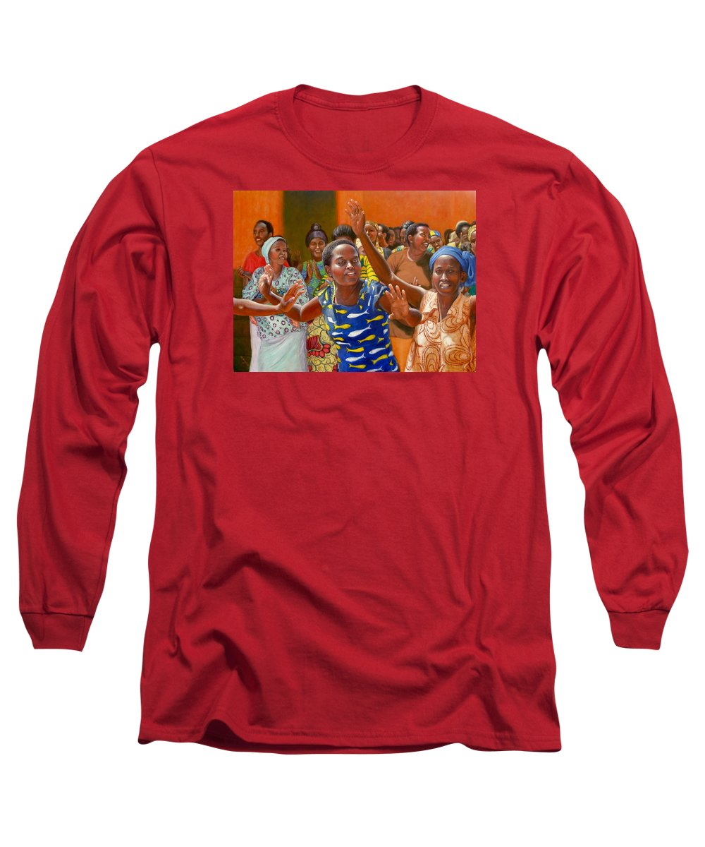 Realism Long Sleeve T-Shirt featuring the painting Rejoice by Donelli DiMaria