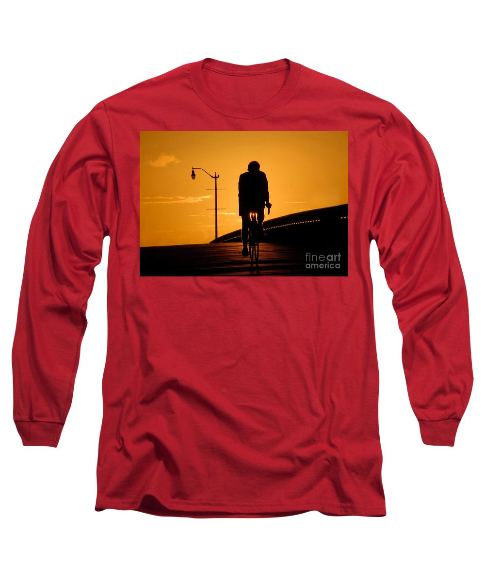 Bicycle Long Sleeve T-Shirt featuring the photograph Riding At Sunset by David Lee Thompson