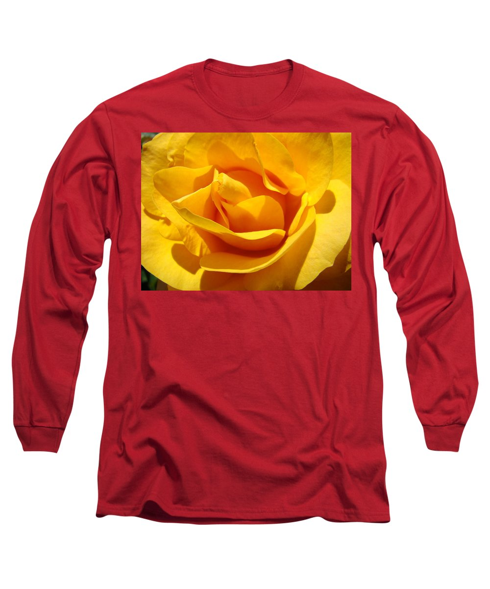 Rose Long Sleeve T-Shirt featuring the photograph Rose Flower Orange Yellow Roses 1 Golden Sunlit Rose Baslee Troutman by Baslee Troutman