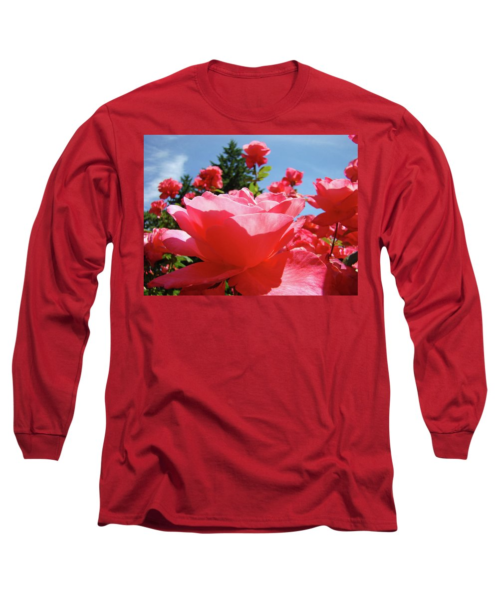 Rose Long Sleeve T-Shirt featuring the photograph Roses Pink Rose Landscape Summer Blue Sky Art Prints Baslee Troutman by Baslee Troutman
