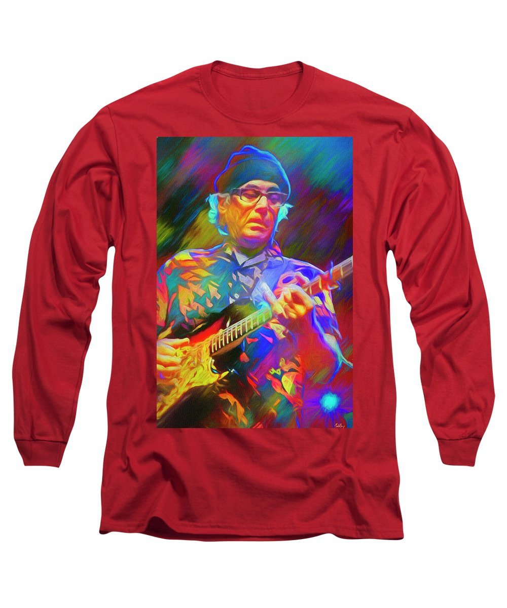 Ry Cooder Long Sleeve T-Shirt featuring the mixed media Ry Cooder American Musician by Mal Bray