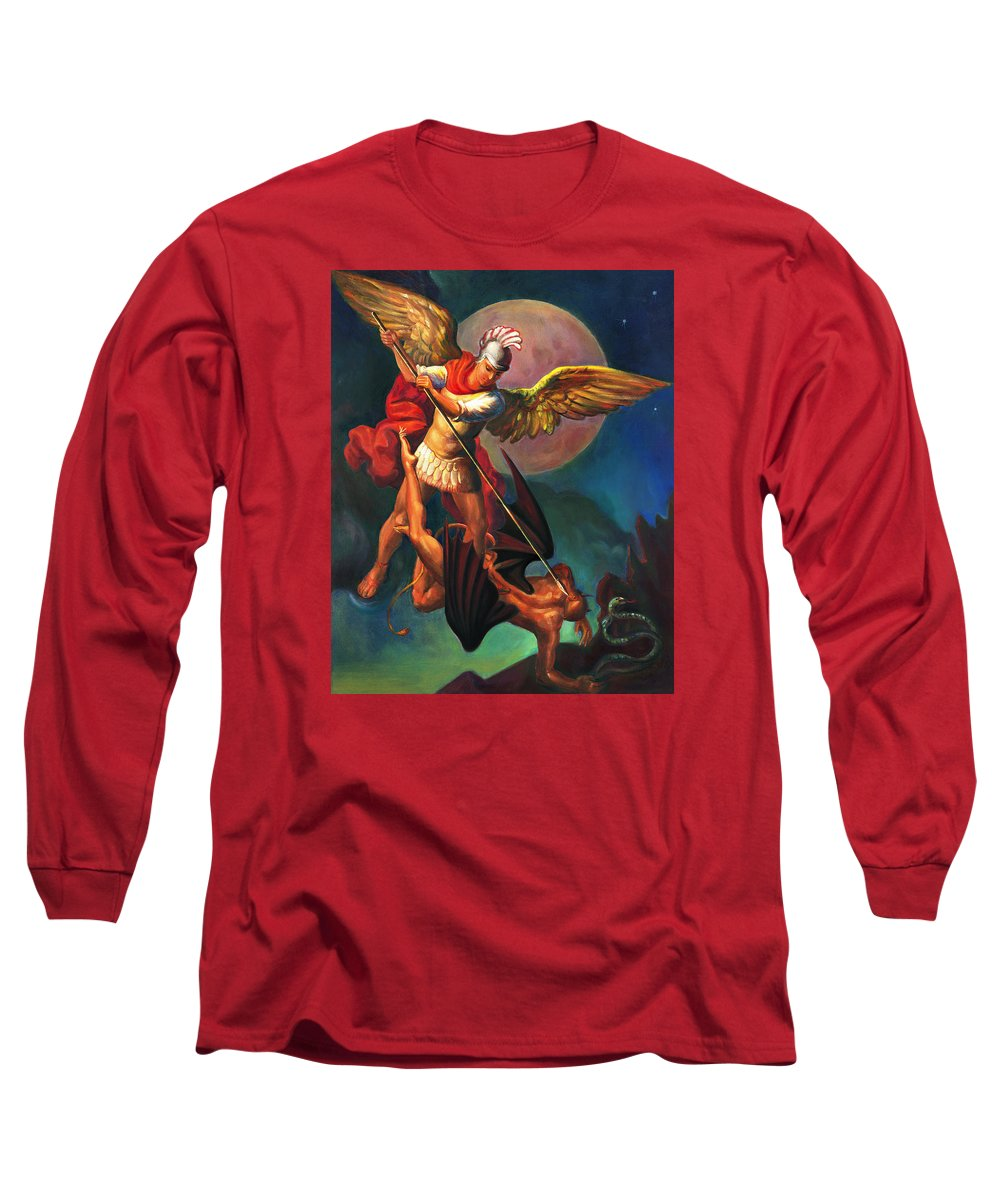 Bible Long Sleeve T-Shirt featuring the painting Saint Michael The Warrior Archangel by Svitozar Nenyuk