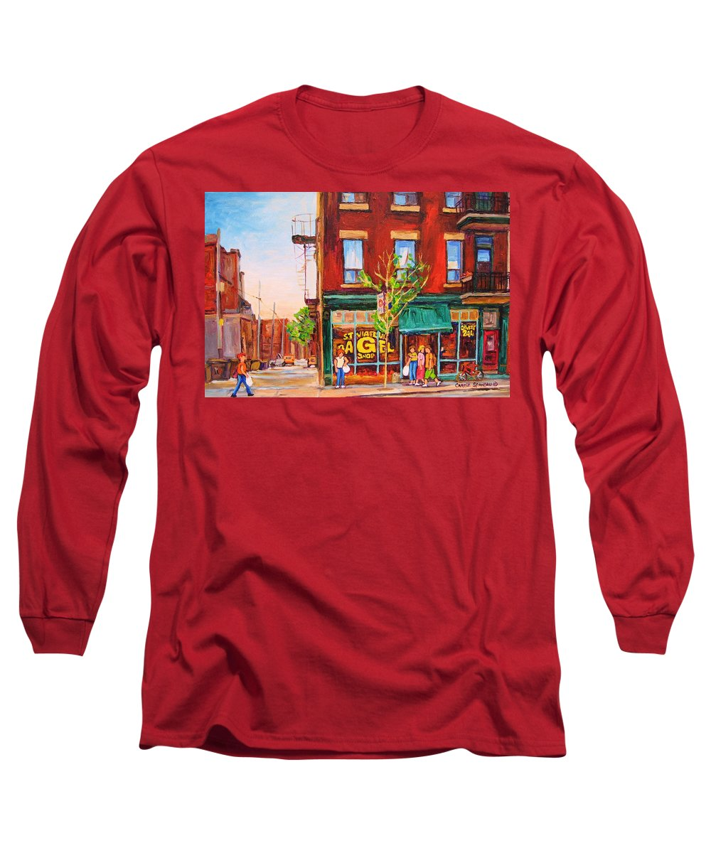 Montreal Long Sleeve T-Shirt featuring the painting Saint Viateur Bagel by Carole Spandau