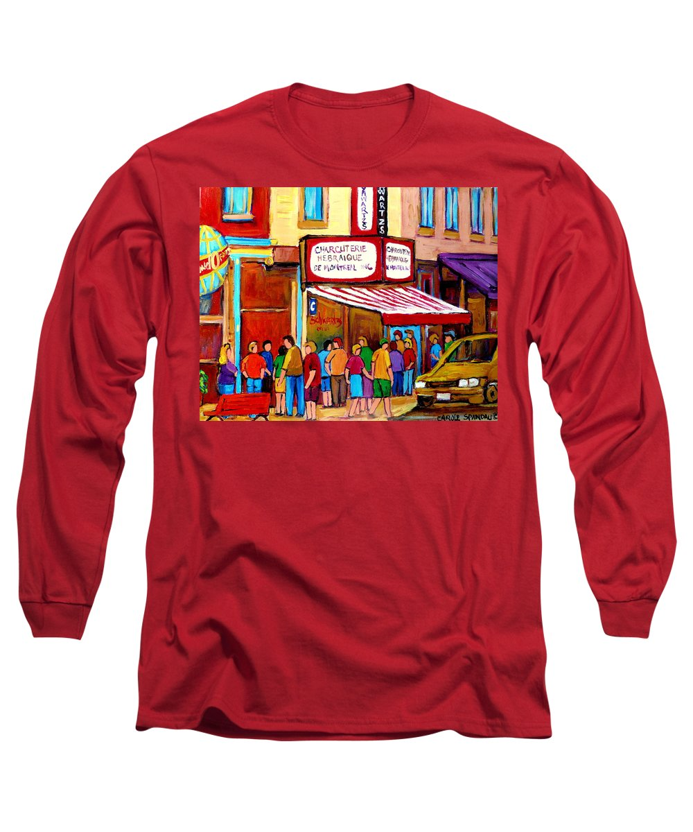 Schwartzs Deli Long Sleeve T-Shirt featuring the painting Schwartzs Hebrew Deli Montreal Streetscene by Carole Spandau