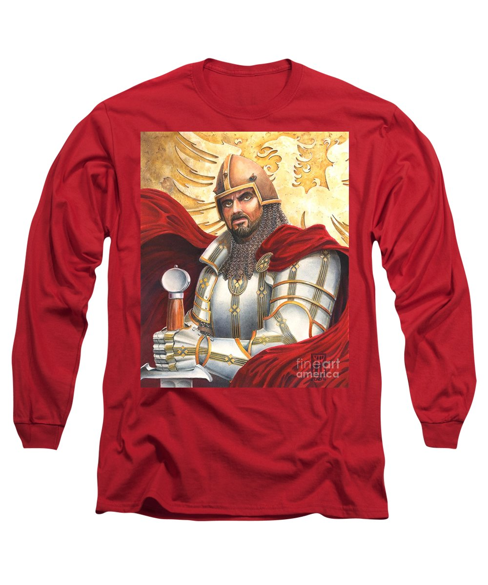 Swords Long Sleeve T-Shirt featuring the drawing Sir Gawain by Melissa A Benson