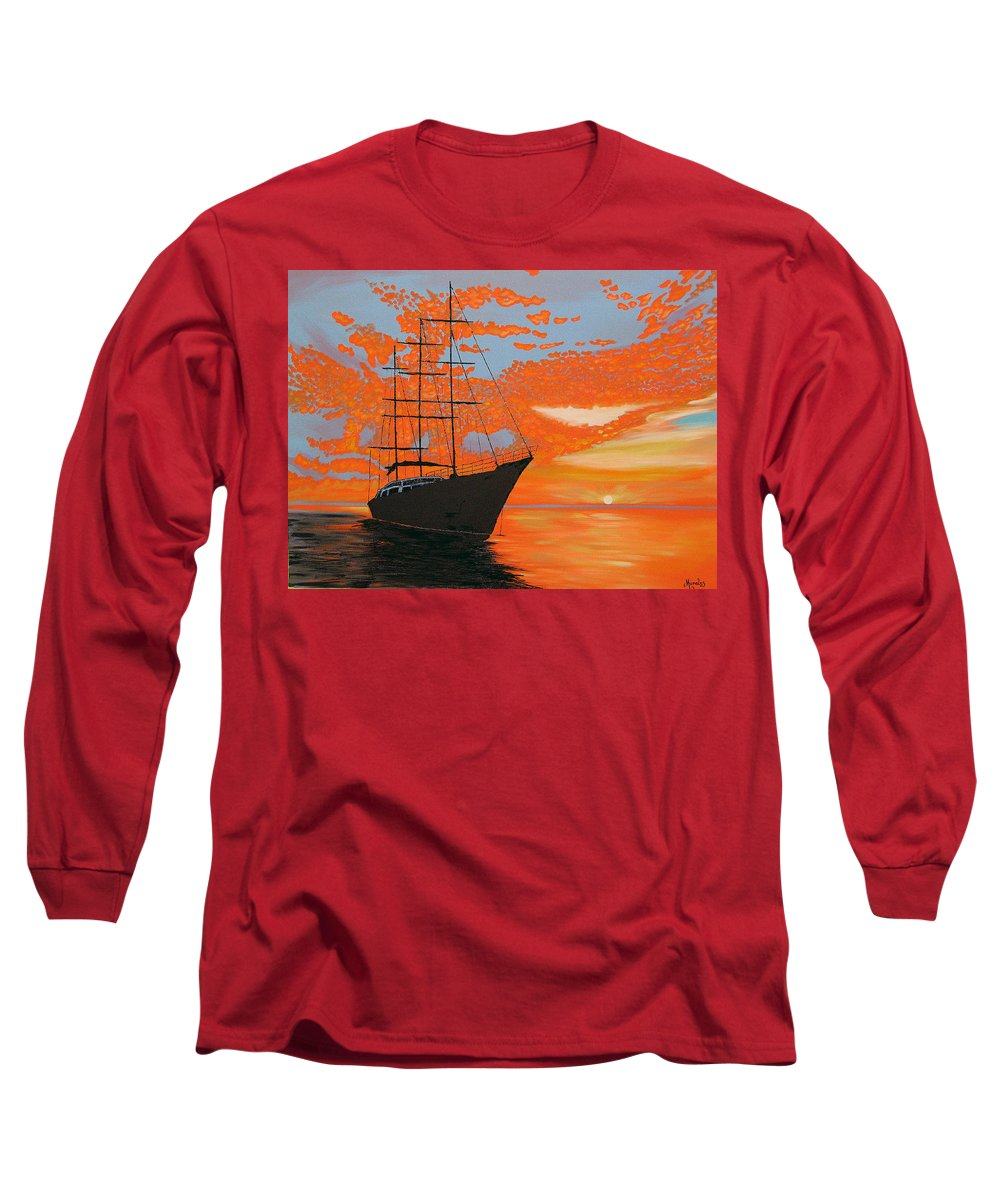 Seascape Long Sleeve T-Shirt featuring the painting Sittin' On The Bay by Marco Morales