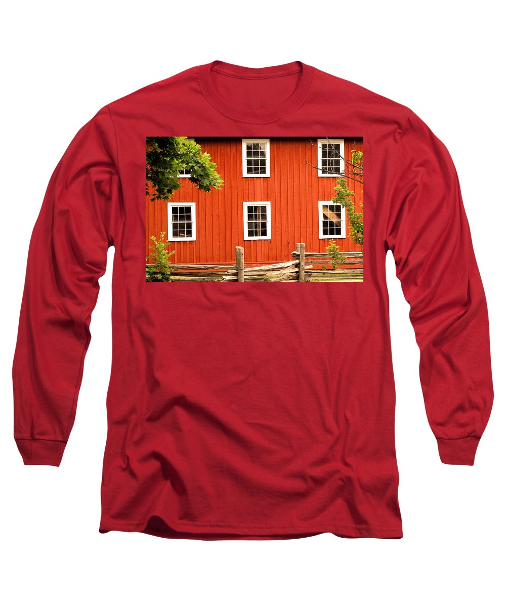 Red Wall Long Sleeve T-Shirt featuring the photograph Six Windows by Ian MacDonald