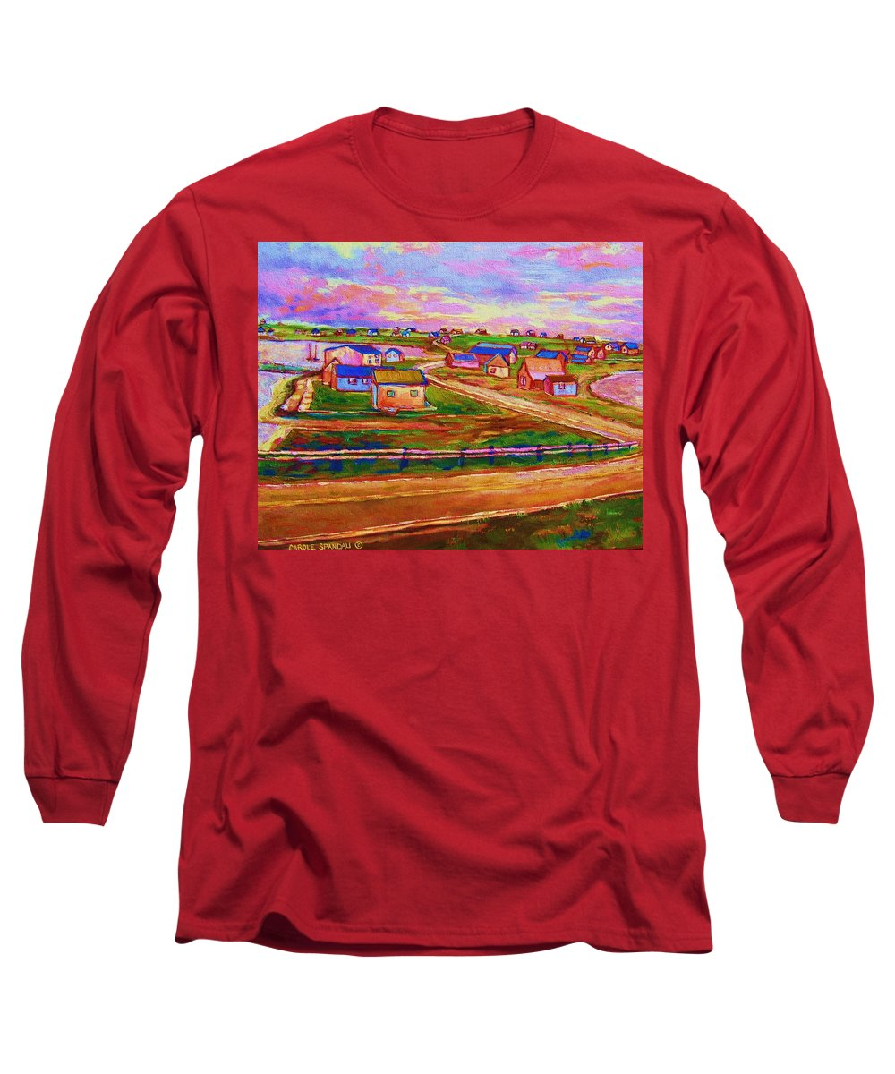 Sunrise Long Sleeve T-Shirt featuring the painting Sleepy Little Village by Carole Spandau
