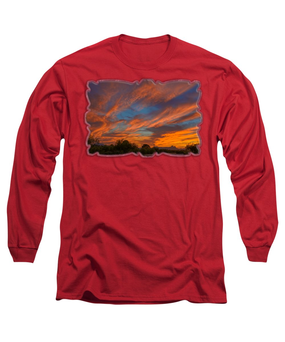 Arizona Long Sleeve T-Shirt featuring the photograph Sombrero Sunset H26 by Mark Myhaver