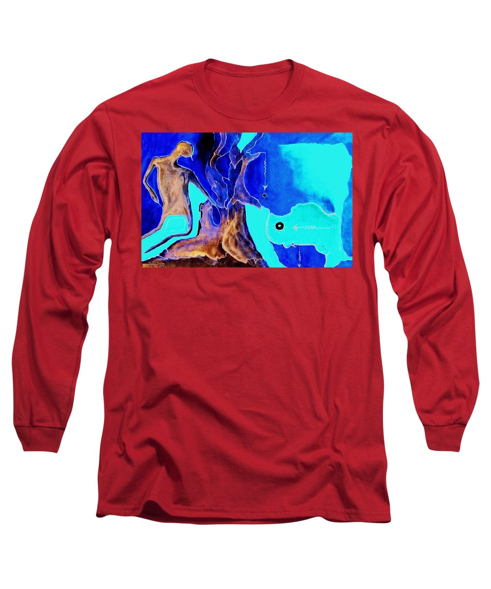 Game Direction Abstract Red Man Long Sleeve T-Shirt featuring the painting Sophogame by Veronica Jackson