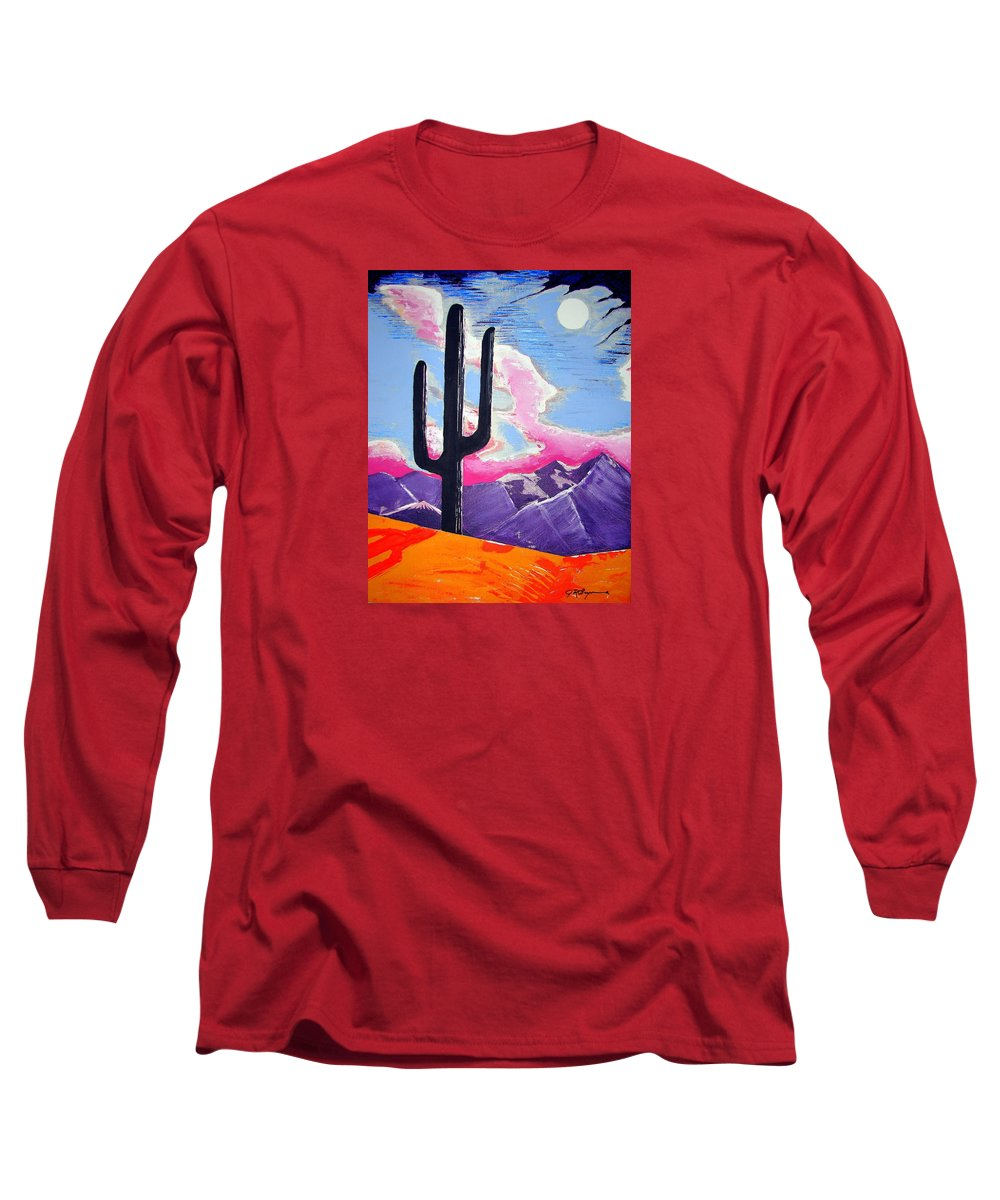 Cactus Long Sleeve T-Shirt featuring the painting Southwest Skies 2 by J R Seymour