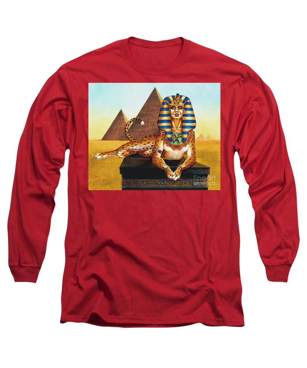 Cat Long Sleeve T-Shirt featuring the painting Sphinx On Plinth by Melissa A Benson