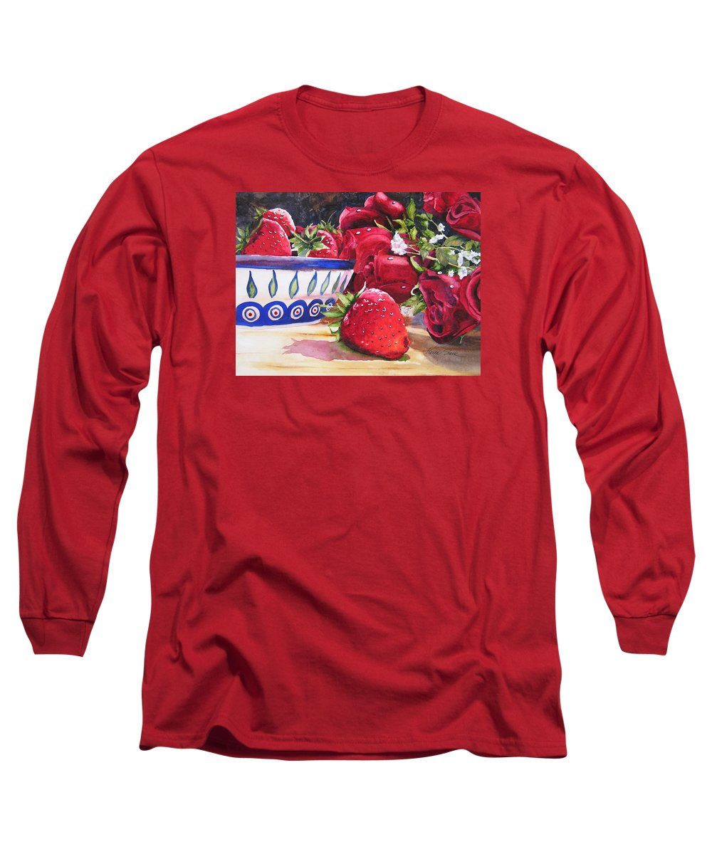 Strawberries Long Sleeve T-Shirt featuring the painting Strawberries And Roses by Karen Stark
