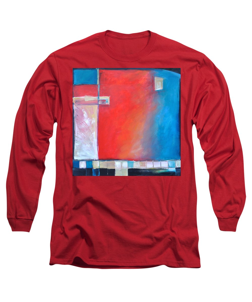 Abstract Long Sleeve T-Shirt featuring the painting Structures And Solitude Revisited by Tim Nyberg