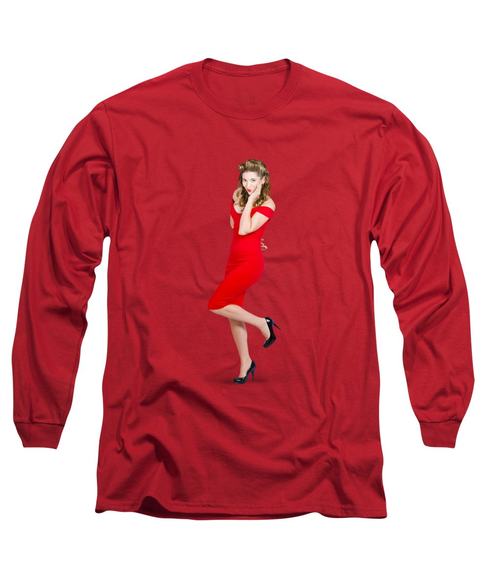 Girl Long Sleeve T-Shirt featuring the photograph Stunning Pinup Girl In Red Rockabilly Fashion by Jorgo Photography - Wall Art Gallery