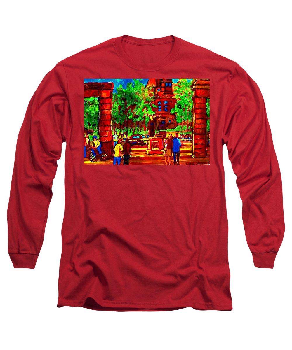 Mcgill University Long Sleeve T-Shirt featuring the painting Summer At Mcgill University by Carole Spandau