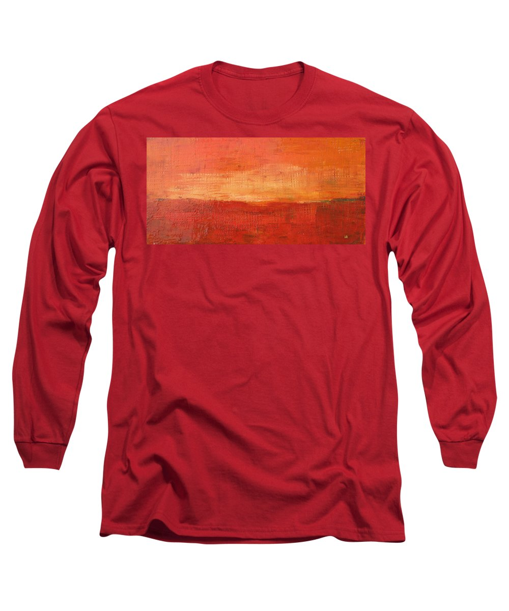 Abstract Long Sleeve T-Shirt featuring the painting Sunset by Habib Ayat
