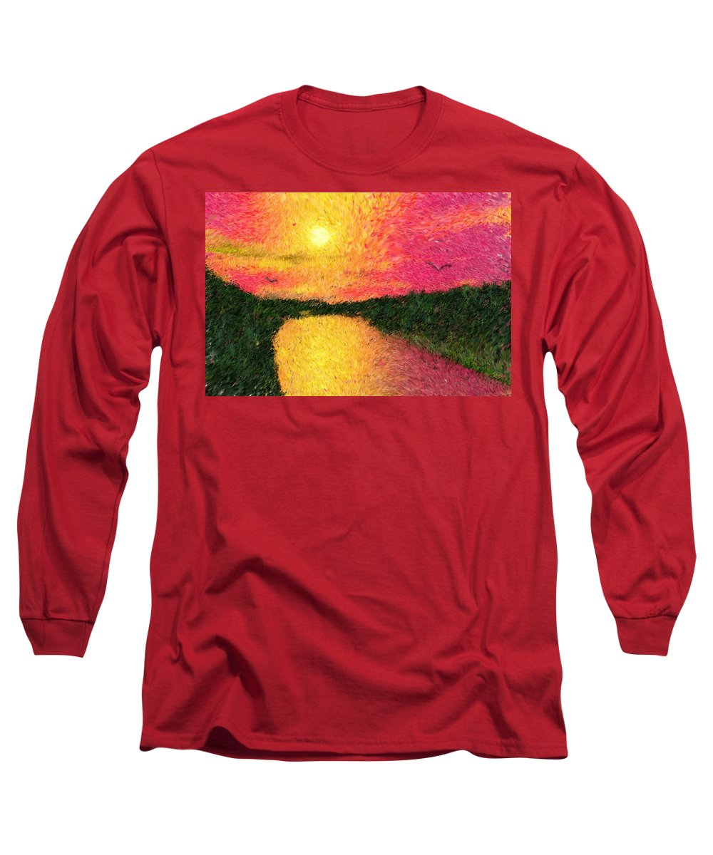 Digital Art Long Sleeve T-Shirt featuring the digital art Sunset On The River by David Lane