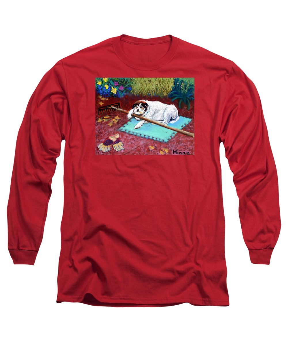 Dog Long Sleeve T-Shirt featuring the painting Take A Break by Minaz Jantz