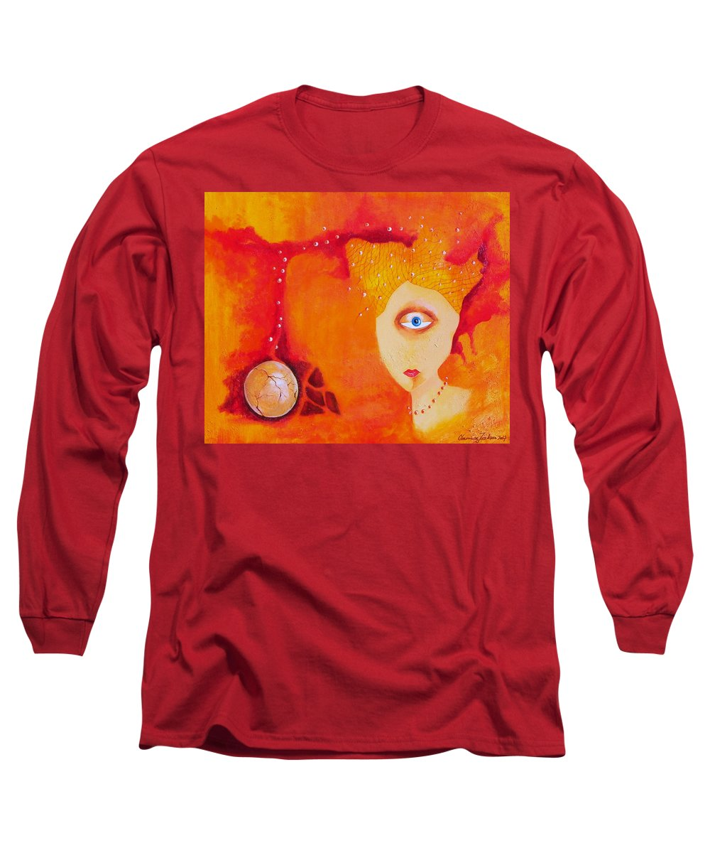 Tangerine Orange Eyes Woman Pearls Thoughts Life Egg Long Sleeve T-Shirt featuring the painting Tangerine Dream by Veronica Jackson